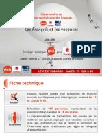 Les Français Et Les Vacances -Juin 2015