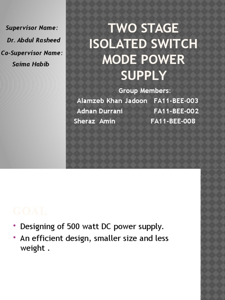 Switch Mode Power Supply Presentation Rectifier Dc