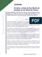 Nota de Prensa - Más de 350 Niños y Niñas de San Martín de La Vega Participan en Los Patios de Verano