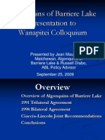 Algonquins of Barriere Lake Wanapitei PresentationSept 25 09