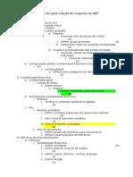 Check List Para Criação Da Empresa No SAP
