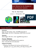 The Fem for the Analysis of NL&Dynamic Systems