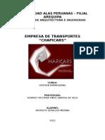 Empresa de Transportes Chapicars- Gestion Empresarial