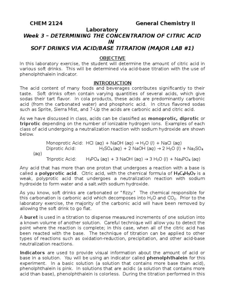Worksheets Acid Base Titration Worksheet lab 3 titration of soda citric acid molar concentration acid