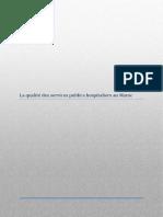 La Qualité Des Services Publics Hospitaliers Au Maroc Net