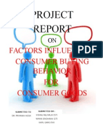 Project Report on Consumer Behaviour