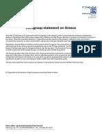 Communiqué Eurogroupe