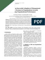 Factors Affecting Successful Adoption of MIS in Organizations Towards Enhancing Organizational Performance
