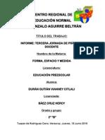 Informe, Tercera Jornada de Práctica Docente.