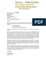 Letter to Philtec Metals concerning delivery