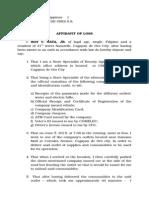 Affidavit of Loss-(Multiple)