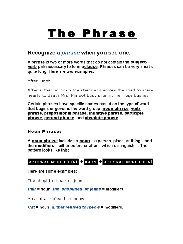 Phrases Preposition And Postposition Verb