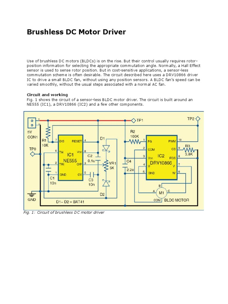 Brushless Dc Motor Driver Electric Computer Engineering Circuit For