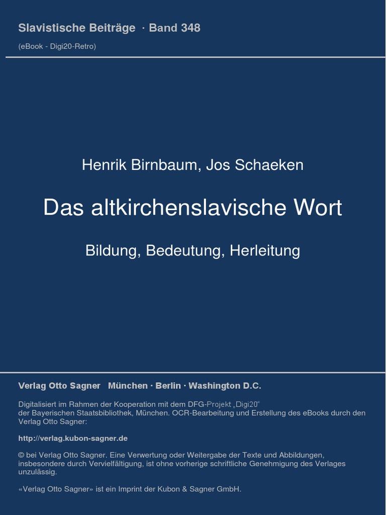 Das Altkirchenslavische Wort Birnbaum & Schaeken I