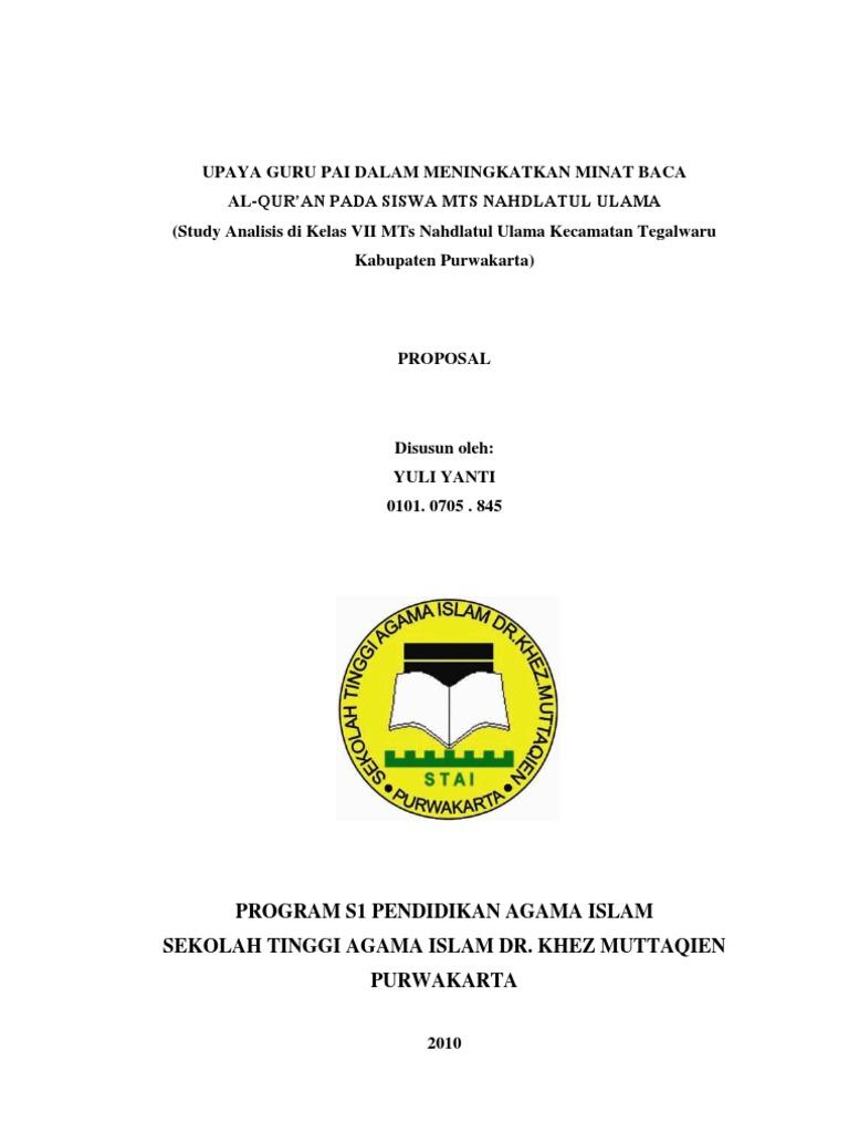 Proposal Skripsi Upaya Guru Pai Dalam Meningkatkan Minat Baca Alquran