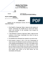 Collection of Sum of Money Complaint