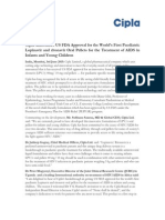 Cipla Announces US FDA Approval for the Worlds First Paediatric Lopinavir and ritonavir Oral Pellets for the Treatment of AIDS in Infants and Young Children [Company Update]