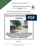 Perfil Mejoramiento Transitabilidad Vehicular y Peatonal Pp.jj. Diego Ferre