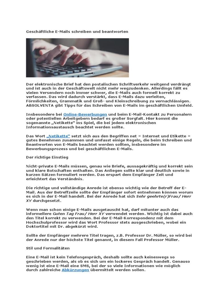 Geschäftliche Email