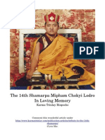 The 14th Shamarpa Mipham Chokyi Lodro In Loving Memory Karma Trinlay Rinpoche