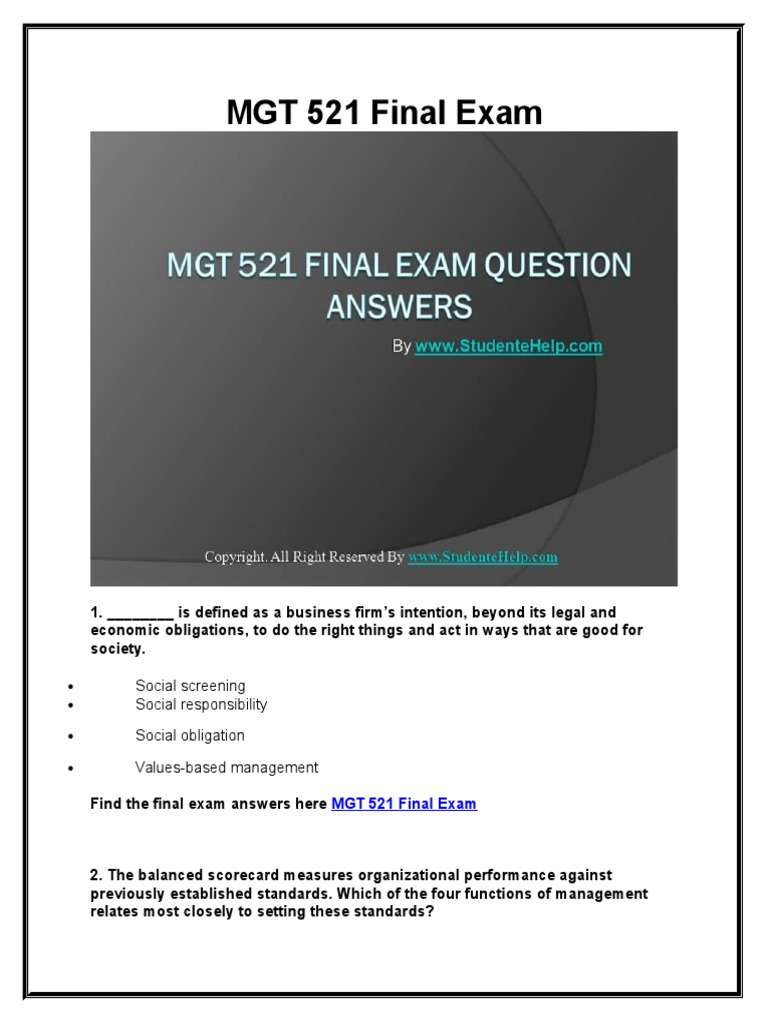 mgt exam 2 study guide Get your copy of the mgt 498 final exam answers this study guide is fully comprehensive and will put you on the fast track to a 30/30 score on your final this is a very difficult final that covers specific topics from the textbook, so make sure you study hard.