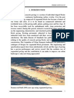 Report on Paving Block | Road Surface | Construction Aggregate