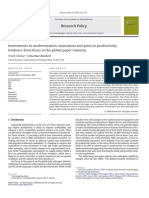 Investments in Modernization, Innovation and Gains in Productivity- Evidence From Firms in the Global Paper Industry