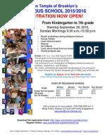 RELIGIOUS SCHOOL 2015/2016 - REGISTRATION