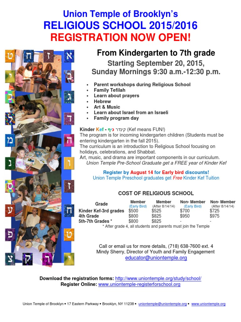 RELIGIOUS SCHOOL 2015/2016 - REGISTRATION