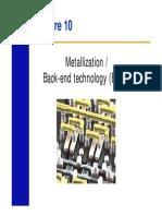 Metallization, Back-end technology (BEOL)