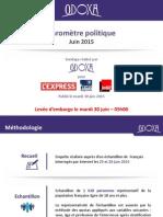 Baromètre Politique Odoxa-L'Express-Presse Régionale-France Inter - Juin 2015