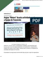 27-06-15 Asigna Maloro Acosta actividades y plazos a equipo de transición