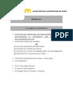 Matrícula - Documentos Necessários ETPM