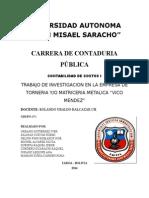 """Trabajo de Investigacion en La Empresa de Torneria Yo Matriceria Metalica """"Vico Mendez"""""""