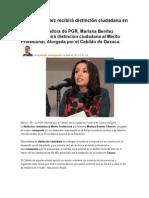24.04.15 Mariana Benítez recibirá distinción ciudadana en Oaxaca