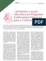 Património e acção educativa no programa gulbenkian educação para a cultura (2010)