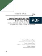 Culpabilidad y Responsabilidad penal como categorias de imputabilidad en la obra de Claus Roxin