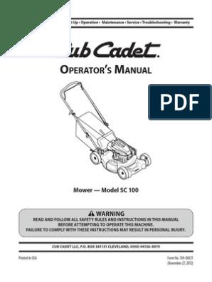 Cub Cadet SC100 Manual   Mower   Internal Combustion Engine