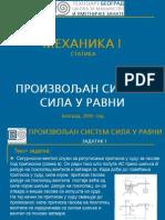 0551 - Произвољан систем сила у равни - Задатак 1