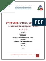 Informe Hidraúlica  energia especifica  y coeficientes de resistencia al flujo