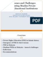 Some Issues and Challenges Confronting Muslim Private Higher Educational Institutions