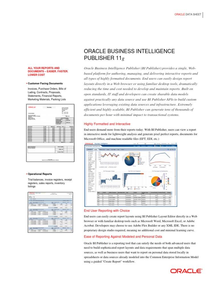 bipublisherdatasheet-129370 | Oracle Corporation | Business