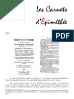 Les Carnets d'Épiméthée – Juillet 2015
