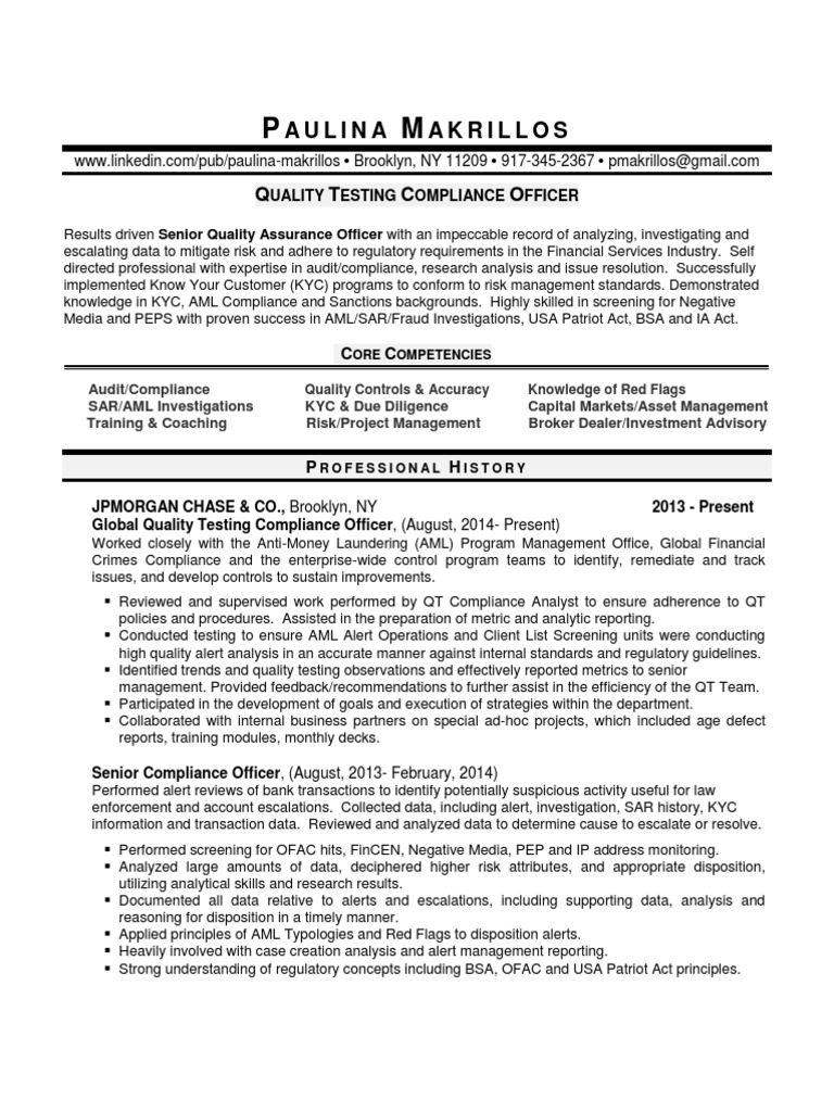 senior compliance officer manager in new york city resume
