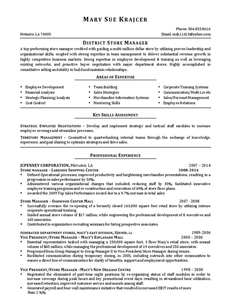 District Retail Store Manager HR in New Orleans LA Resume