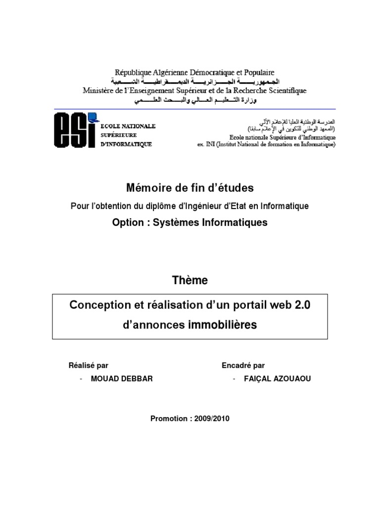 Conception_et_r Alisation_d Un_portail_web_2 0__d  # Tables Pour Teles Ouedkniss