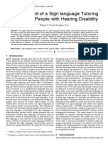 Development of a Sign language Tutoring System for People with Hearing Disability