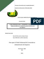 """Plan de Tesis Administra """"Clima Organizacional y Desempeño Laboral en Los Trabajadores de La Municipalidad Distrital de Pilcomayo"""