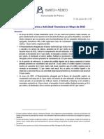 Agregados Monetarios y Actividad Financiera en Mayo 2015 (30 Junio 2015)