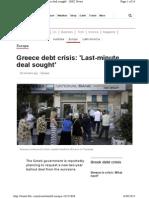 Greece Debt Crisis_ 'Last-minute Deal Sought'